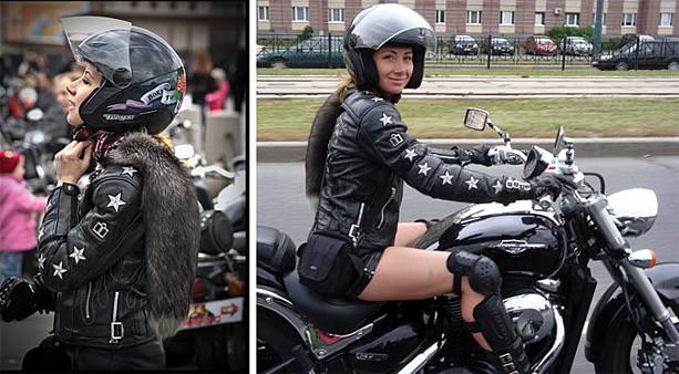 Девушка на мотоцикле Suzuki Boulevard