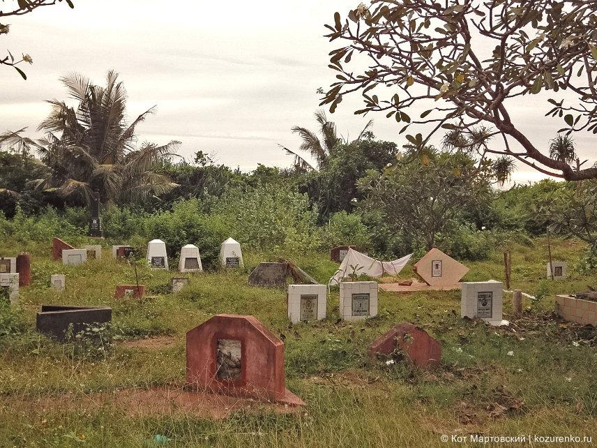 Очень бедные могилки выложены кафелем